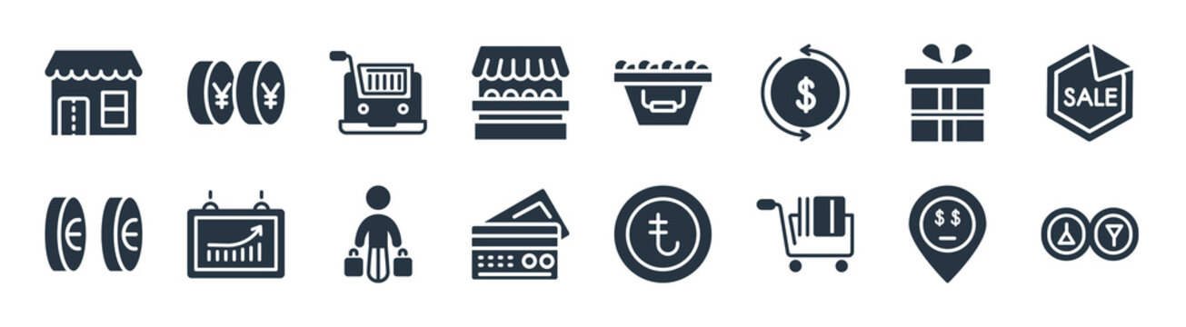commerce filled icons. glyph vector icons such as men and women toilet, e commerce shopping cart tool, big cit card, null, wrapped gift box with ribbon, online store cart, basket full, yens coins