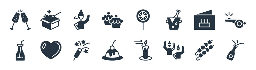 Obraz party filled icons. glyph vector icons such as opening champagne bottle, birthday friends, sweet cake, juice bottle with straw, birthday card, boy partying, candy paper, magician case sign isolated - fototapety do salonu