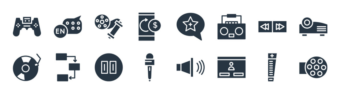 multimedia filled icons. glyph vector icons such as roll, web log in, microphone for journalists, multimedia, on button, rolls, favorites, english sign isolated on white background.