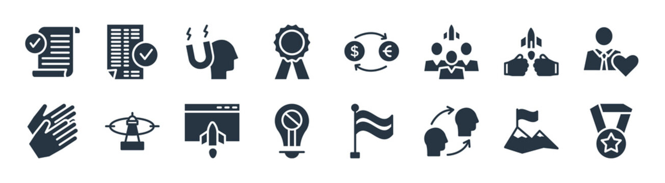 startup stategy and filled icons. glyph vector icons such as gold medal, attitude, restrict, clap, fight, attractive, exchanging, valid sign isolated on white background.