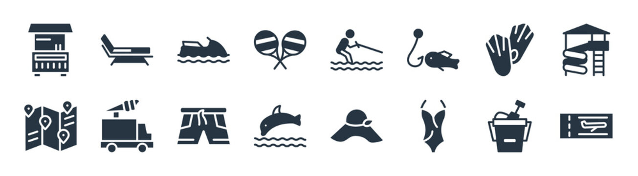 summer filled icons. glyph vector icons such as plane ticket, swimsuit, jumping dolphin, travel guide, diving fins, sea scooter, waterski, beach chair sign isolated on white background.