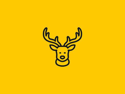 Cute deer head logo modern graphic design illustration icon design