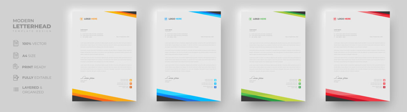 corporate modern letterhead design template with yellow, blue, green and red color. creative modern letter head design template for your project. letterhead, letter head, simple letterhead design.