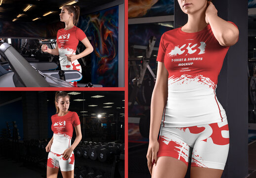 3 Women Mockups of T-Shirt and Shorts in the Gym