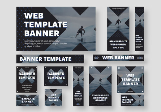 Set of Web Banners with Cross Shape