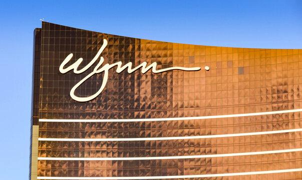 Las Vegas, Nevada, USA - February 2019: Exterior of the Wynn Hotel and Resort on Las Vegas Boulevard.