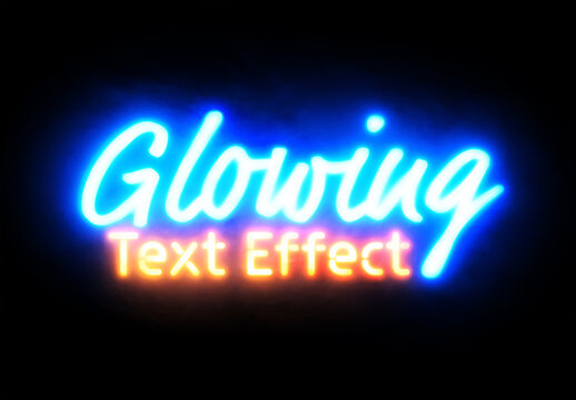 Neon Sign Text with Glowing Foggy Effect Mockup