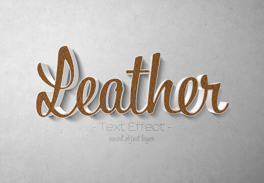 Leather Text Effect with 3D White Style Mockup