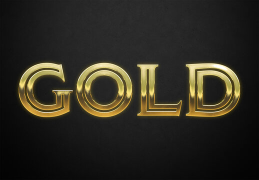 Old Gold Text Style with Ingot Glossy Effect Mockup