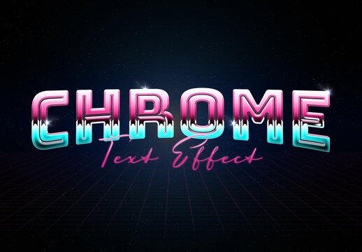 Chrome Metal Text Effect Mockup with Glossy Reflection