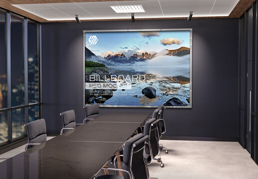 Frame Mockup Hanging on Office Meeting Room Wall