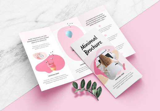 Minimal Brochure Layout with Pink Accents