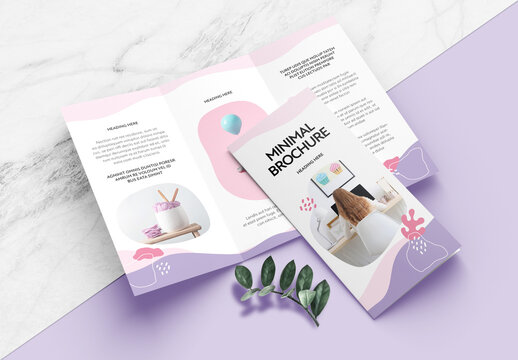 Minimal Brochure Layout with Violet and Pink Accents