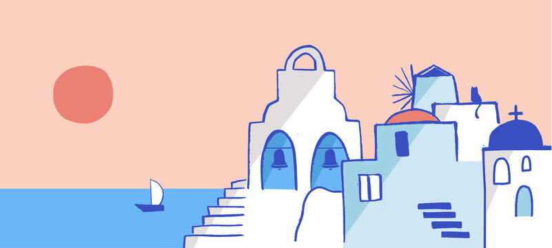 Greece hand drawn illustration. Santorini old town streets, traditional and famous houses and churches with blue domes