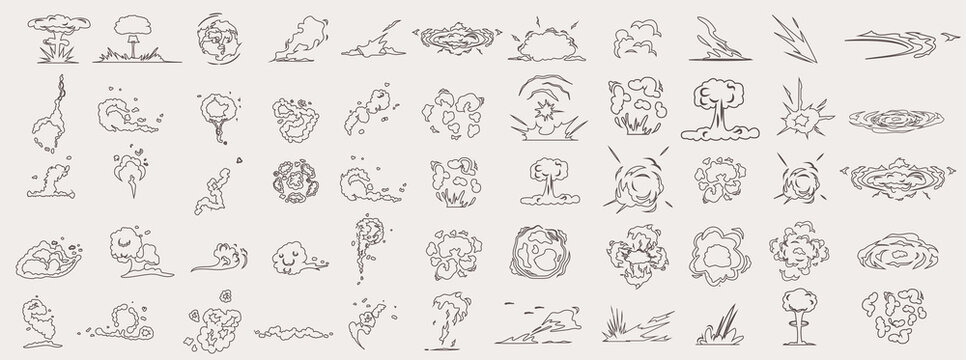 Cartoon smoke clouds. Comic smoke flows. Dynamite explosions, danger explosive bomb detonation and atomic bombs cloud comics. Isolated illustration icons set