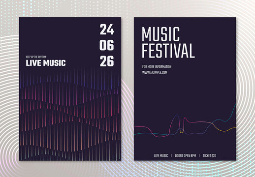 Concert Poster Layout with Sound Wave Graphic