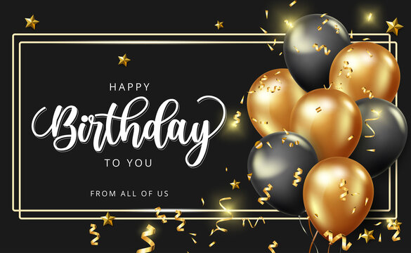 Happy birthday vector banner design. Happy birthday to you greeting text with golden balloons and confetti elements in elegant black background for celebrating birth day decoration.