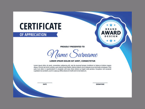 Certificate Template with Blue Curve Element Design, Blue Abstract Certificate Layout Vector