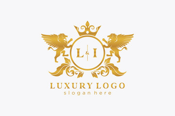 Fototapeta Initial LI Letter Lion Royal Luxury Logo template in vector art for Restaurant, Royalty, Boutique, Cafe, Hotel, Heraldic, Jewelry, Fashion and other vector illustration. obraz