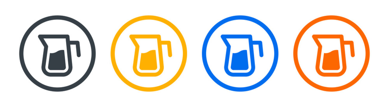 Water pitcher icon vector graphic design. Container for milk symbol