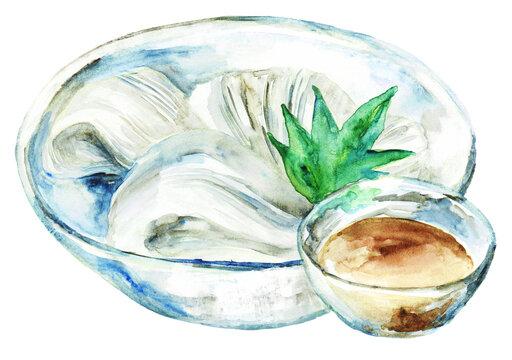 素麺とめんつゆ 水彩イラスト