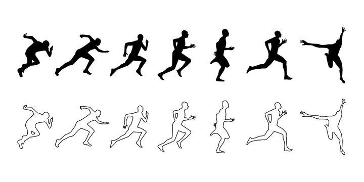走る人ランナーのシルエットベクターアイコンイラスト素材白黒