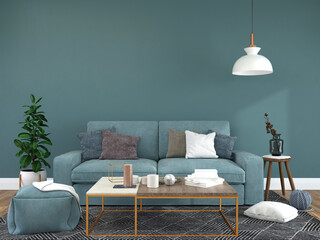 Fototapeta Living room decorated with chairs, sofa and small plant pots obraz