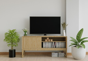 Fototapeta The living room has a storage table and a TV. obraz