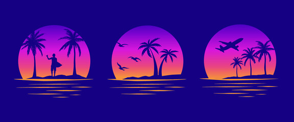 Obraz Beaches, palms and surfing. Miami California Hawaii design. 80s Old school tattoo vector art. Gradient Sunsets with sillhouettes   Vector Graphics for apparel t-shirt  - fototapety do salonu