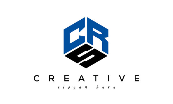 CRS letters creative logo with hexagon