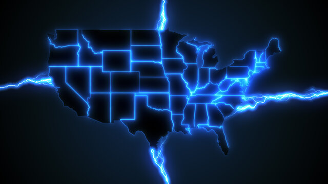 USA power grid - animation of blue lightning styled electrical arcs powering the United States of America, illustrating electrical energy generation, renewable sources of power and energy crisis
