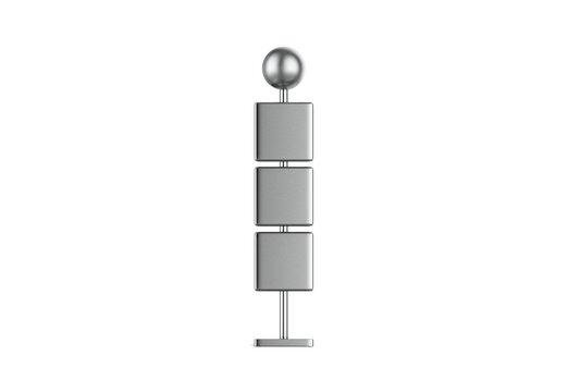 Metallic Wayfinding mockup template on isolated white background, 3d illustration