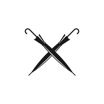Crossed cane umbrellas. Vintage gentleman symbol. Flat icon isolated on white.