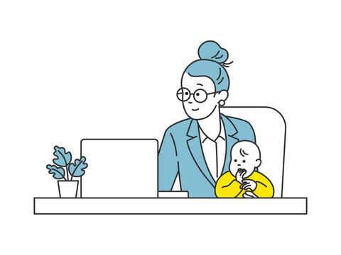 働き方改革 テレワークをする母親 女性