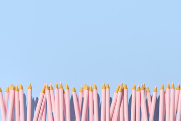 Obraz 3d rendering of pink pencils on a blue background, Minimal concept, Back to school. - fototapety do salonu
