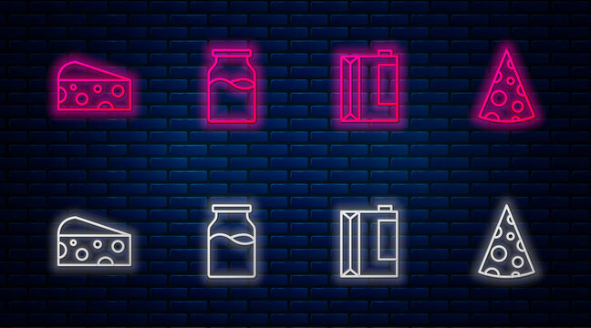 Set line Bottle with milk, Paper package for kefir, Cheese and . Glowing neon icon on brick wall. Vector