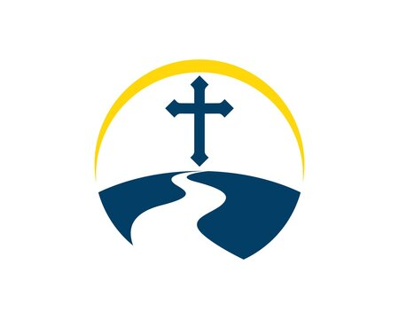 Land with road to religion cross symbol and yellow swoosh