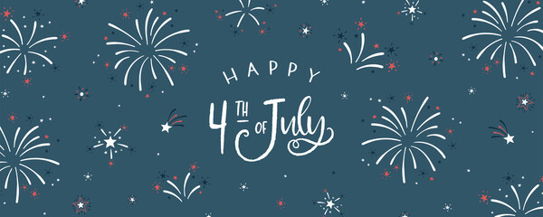 Fototapeta Fun hand drawn firework design in red, blue white colors, party background, great for Independence day, fabrics, banners, wallpapers, wrapping - vector design obraz