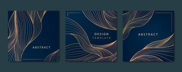 Obraz Vector set of abstract luxury golden square cards, post templates for social net, wavy line art background. Art Deco Pattern, texture for print, fabric, packaging design. - fototapety do salonu