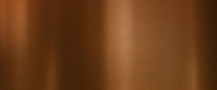 Shiny brushed copper surface. Metallic texture background with shiny light reflections.