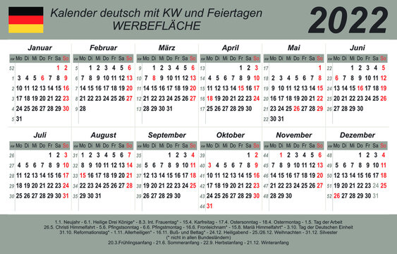 Kalender 2022 - weiß - grau - deutsch - mit Feiertagen (85 x 54 mm)