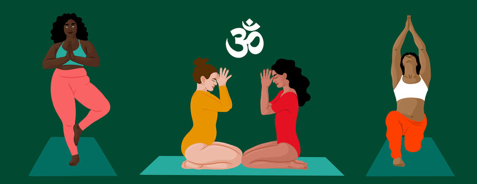 Four women practicing yoga behind a green background. above them, the Om Sign in Sanscrit