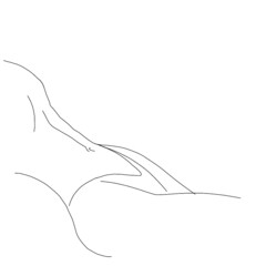 one line drawing women beauty body for nails, medicine, t-shirt, logo, icon
