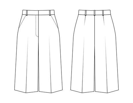 Fashion technical drawing classic bermuda shorts