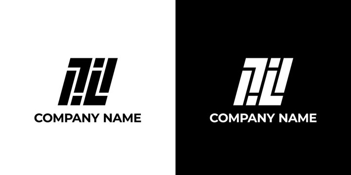 TL monogram logo concept. The shape of the logo is formed of rectangles and squares. Monochrome colors. Stock Vector Illustration