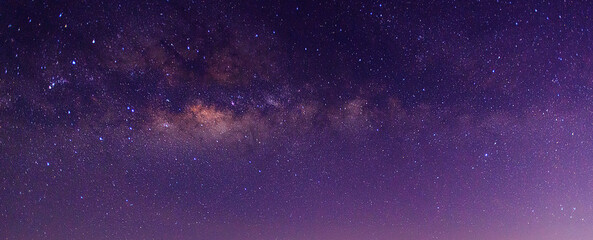 Panorama blue night sky milky way and star on dark background.Universe filled with stars, nebula and galaxy.