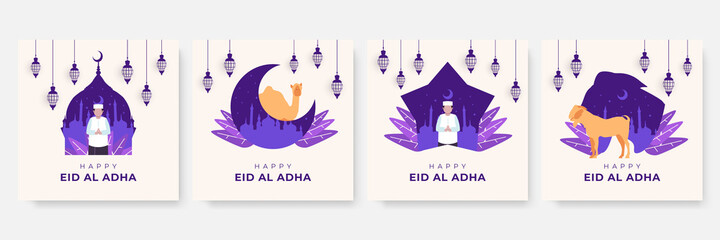 Fototapeta Eid Al Adha Mubarak Background. Eid al adha mubarak bakrid festival with goat and mosque. Islamic design illustration concept for Happy eid al adha or sacrifice celebration event with people character obraz