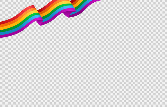 Waving rainbow LGBT flag isolated on png or transparent  background, Symbol of LGBT gay pride,vector illustration