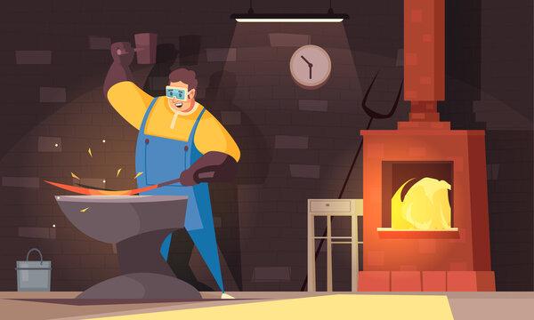 Blacksmith With Hard Work Strength Symbols Flat Illustration