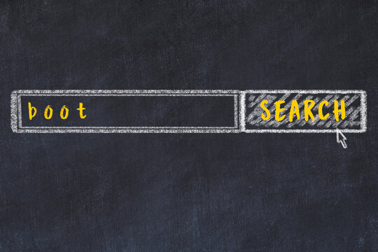 Chalk drawing of search engine and inscription on black chalkboard